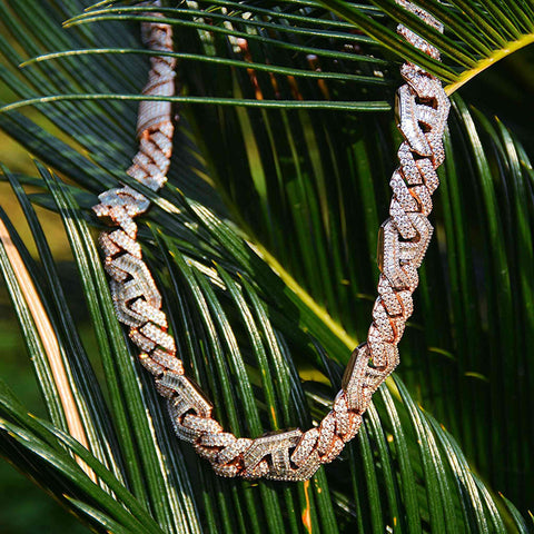 15MM Mariner  Diamond Cuban Necklace (Rose Gold)