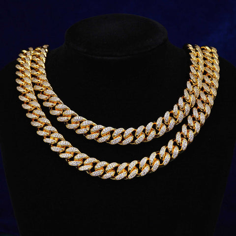 12MM Conventional Diamond Cuban Necklace (Gold)