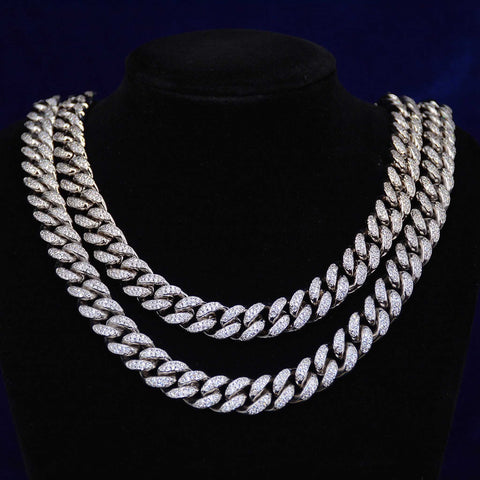 12MM Conventional Diamond Cuban Necklace (White Gold)