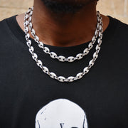 Classic Pig Nose Cuban Chain (White Gold)