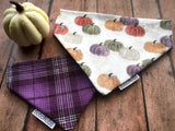 Reversible dog bandana with coral, green, purple, orange, and white pumpkins on a cream background on one side, and dark purple, light purple, and cream plaid print on the reverse