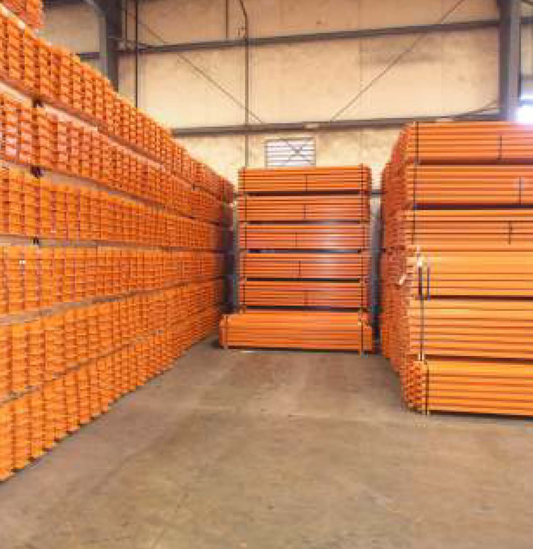 8 foot orange painted Hannibal pallet racking beams for sale