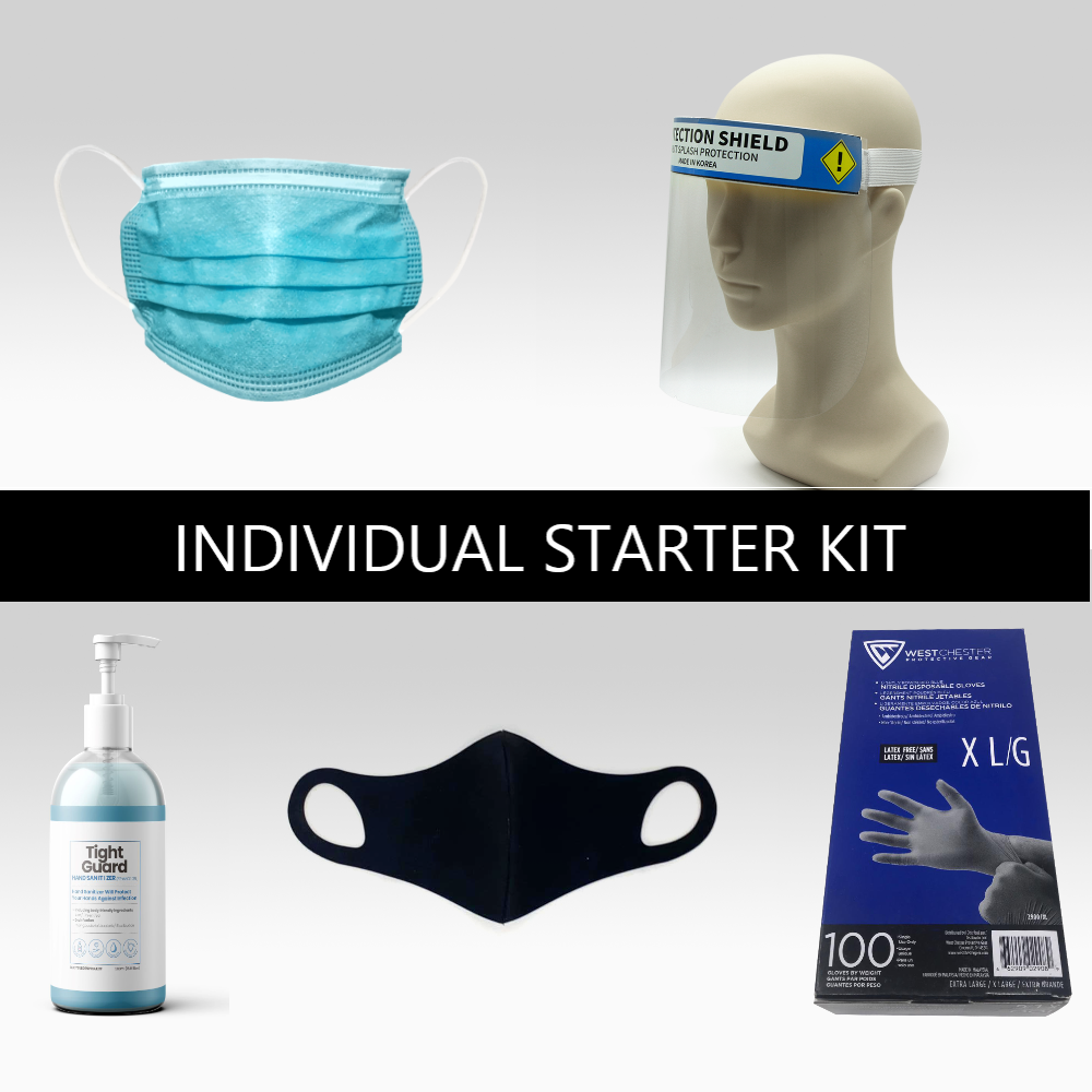 PPE individual starter value kit - includes disposable masks, face shield, hand sanitizer, neoprene mask, and disposable gloves.