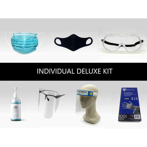 Protect yourself and others with this Individual Deluxe PPE Kit: includes everything you need to be safe and reduce transmission.