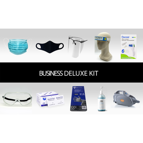 Business Deluxe PPE Kit: Includes everything you need for your medium to large businesses. Ideal for large restaurants, gyms, schools, etc.