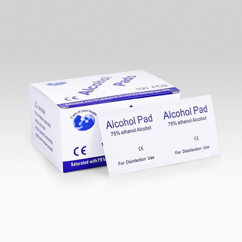 Individually wrapped alcohol wipes to clean your hands or surfaces