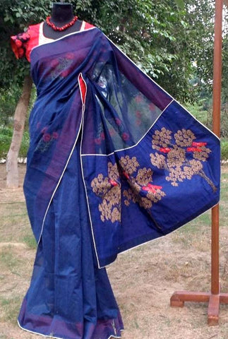 Blue Chanderi Saree : Tree of Life and Birds in Paradise