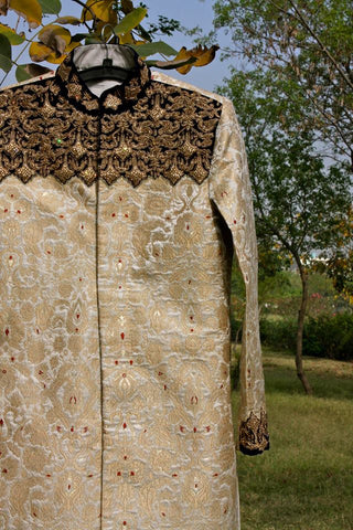 Gold kimkhwab brocade sherwani set