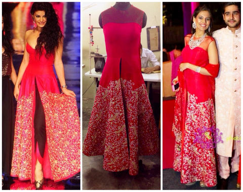 Raspberry gown with pants