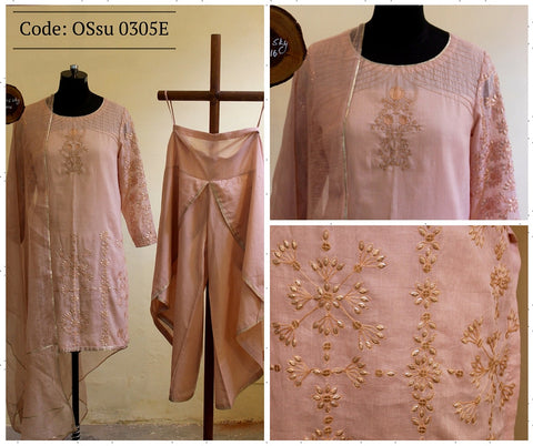 Almond short Kurta with Dhoti and Noile Dupatta:OSsu0305E