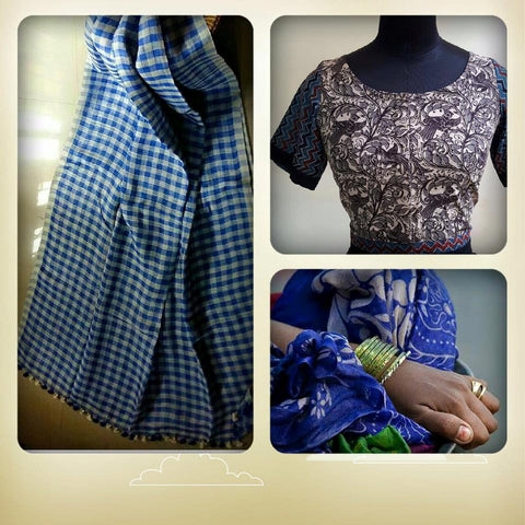 Linen Saree: Offwhite and Blue check:OSsr42 (SOLD OUT)