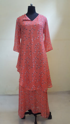 "Dragonfly Dress  in ""V"" flap neck :OSdr0513B (SOLD OUT)"