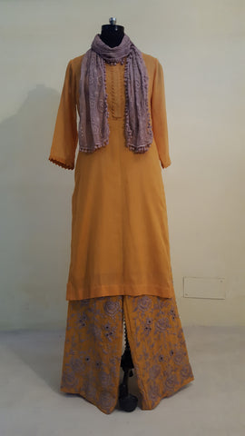 Mustard Mal Kurta with Embroidered Pants:OSsu0511C