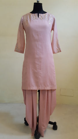 Blush Short Kurta with Dhoti Pants :OSsu0515B
