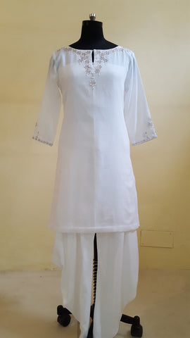 White Short Kurta with Dhoti Pants :OSsu0515D