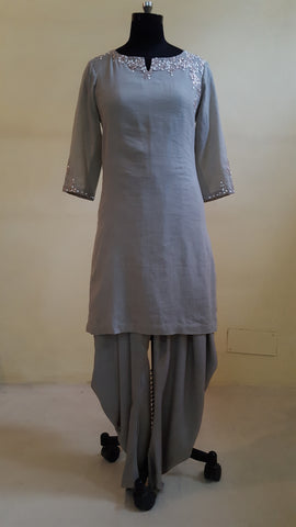 Ash Short Kurta with Dhoti Pants :OSsu0515C