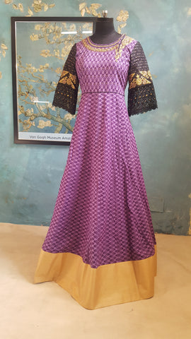 Purple and Black dress with embroidered bodice:OSldr15