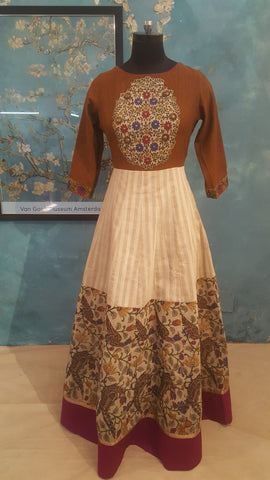 Beige and mustard dress with embroidered bodice:OSldr13 (SOLD OUT)