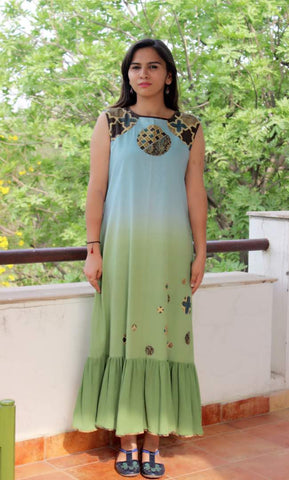 A line long Green-blue cotton ombre' dress :OSdr17113