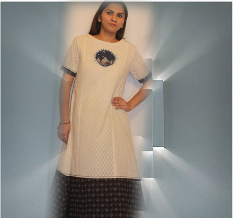Organic cotton dobby dress with ajrak border:OSDR17169