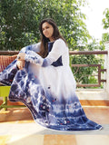 Cotton white blue Anarkali with fishes applique': 0Sdr1766