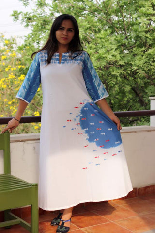 A line Cotton dress in shibori yoke and fishes applique' all over:OSdr1793