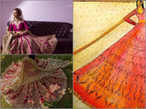 Burgundy raw silk anarkali and beige net dupatta set.