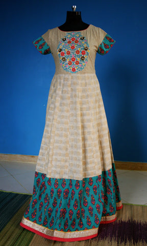 Beige and Sea green dress with embroidered bodice:OSldr12