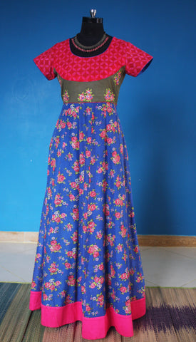 Blue and Pink printed Dress:OSldr2