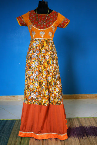 Mustard yellow and rust dress with embroidered bodice:OSldr1 (SOLD OUT)