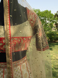 Front detail of brocade and embroidered choli