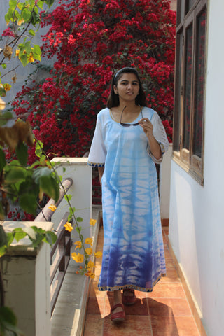 Cotton shibori full length dress with embroidered sleeve: 0Sdr1725