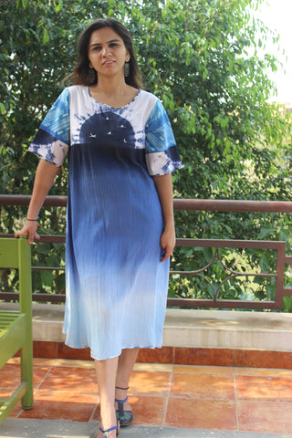 Cotton crepe dress with resham seagulls: 0Sdr1777