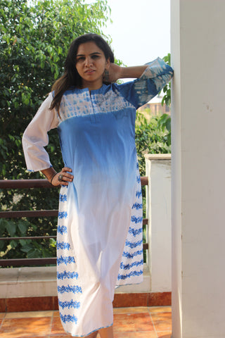 "Cotton A line dress with 'ektaar"" face embroidery: 0Sdr1776"
