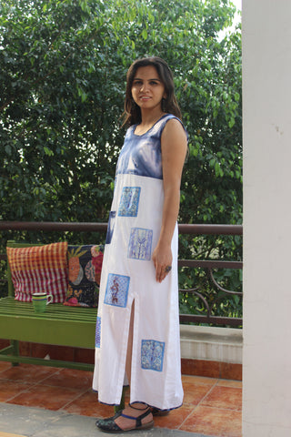 Cotton dress with slit and prints applique': 0Sdr1748