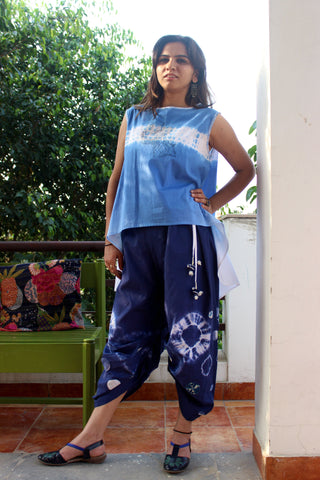 Cotton top with face and indigo pants: 0Sdr1758