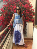 Cotton Applique' dress with printed cape: 0Sdr1728