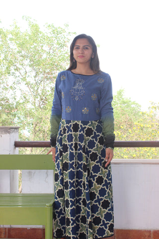 Cotton Green blue jaal Ajrakh Anarkali with buddha motif: 0Sdr1786