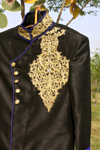 Black raw silk Sherwani