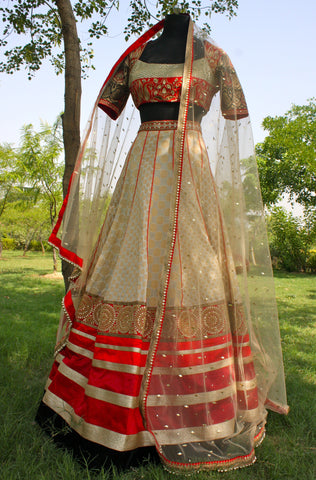 Full view of Chanderi lehnga choli