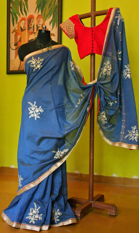 Blue Chanderi with Aari motifs