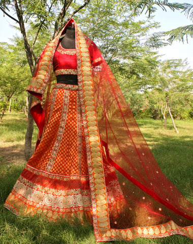 Burnt Orange Chanderi and Raw Silk Wedding Lehnga
