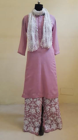 Onion Mal Kurta with Embroidered Pants:OSsu0511D