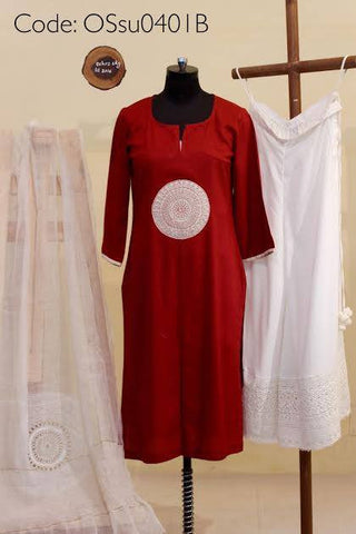 Maroon Cotton Lawn Kurta, Lawn Cotton Pallazos with Noile dupatta:OSsu0401B