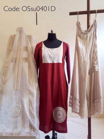Maroon Cotton Lawn Kurta, Lawn Cotton Pallazos with Noile dupatta:OSsu0401D