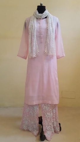 Powder Pink Mal Kurta with Embroidered Pants:OSsu0511B