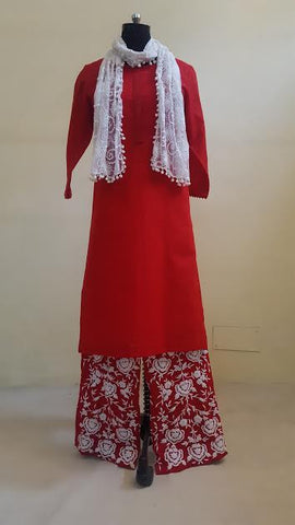 Red Mal Kurta with Embroidered Pants:OSsu0511A