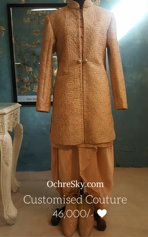 Almond sherwani with dhoti,stole and juttie