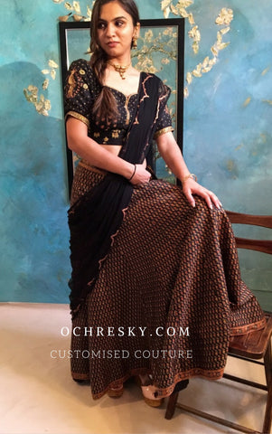 Black printed silk lehnga set:OSlh0901 (SOLD OUT)