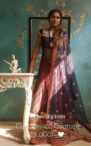 Black net anarkali with lehenga